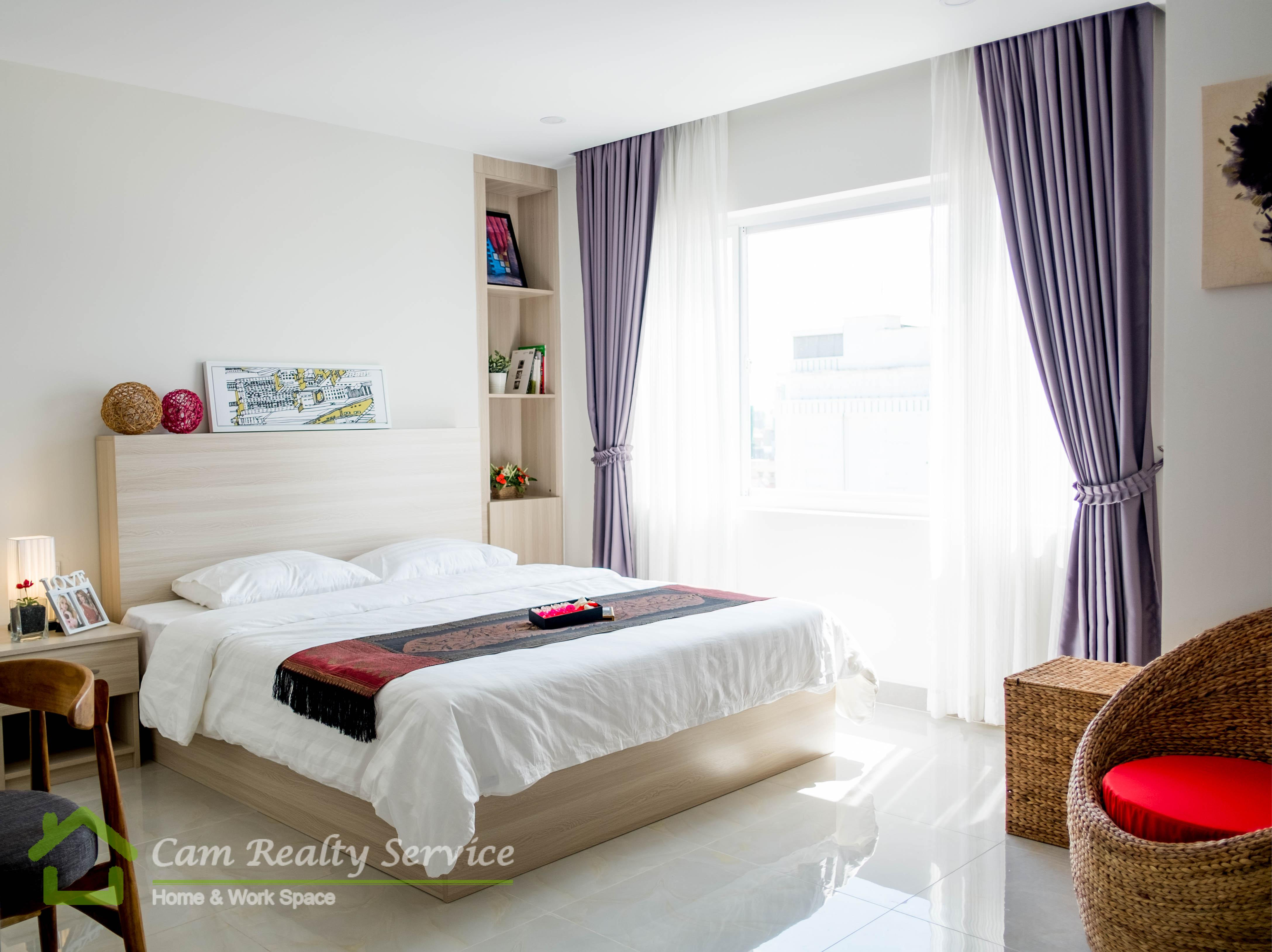 Russian market area| Modern style studio serviced apartment (No kitchen) for rent| 430$/month