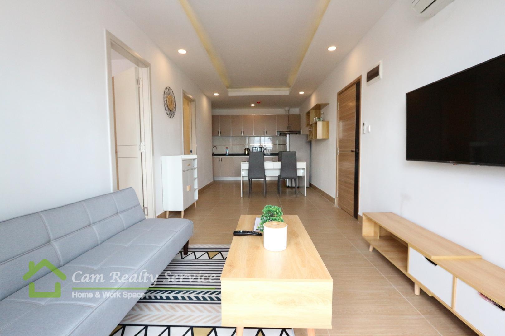 Beong Trabek area  Modern style 2 bedrooms 2 bathrooms service condominium for rent 11st floor  700$/month In Convenient & Quiet area
